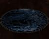 P~ Blue black oval rug
