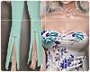 [Is] Floral Suit Aqua
