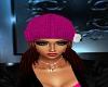 Pink Beenie W/Brwn Hair