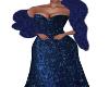 Frina-Navy Gown/Boa