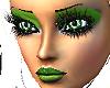 green lips and eyeshadow