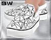 White Geo Slip On Shoes