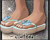 clothes -blue flip flops