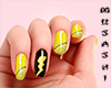 Yellow nails with thunde