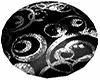 Black Silver Round Rug