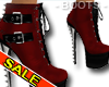 Red Leather Heel Boots