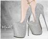 ℳ. Silver Glitter Heel