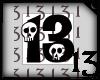 13 Skull Black White BG