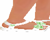 green white buckle shoe
