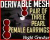3 St Pearl Earrings mesh