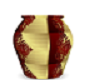 RED,GOLD TALL VASE
