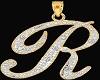 Diamond R necklace