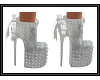 {G}White/Grey Stud Heels