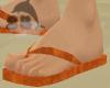 Orange Velvet Flip Flops