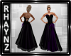 Prple and Blk Satin Gown