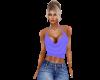 Blue Cowl Top