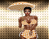 Orange Gingham Umbrella