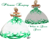 white & Green Gown