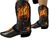 Biker Flame Skull Boots