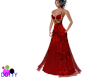 Red lace gown with beads