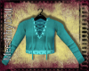 {MD}Teal Lace Up Top