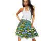 (1NA) Green Floral Dress