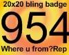 20x20 954 Bling badge
