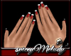 Red Nails White Tip