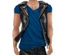 NV Leather Vest w/Blue