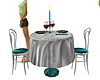 Silver/Teal Dining 4 2