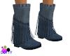 Denim fringe boots