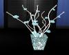 teal and brown deco vase