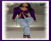2pc Jean Out Fit Purple