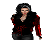 Red Black Fur Jacket