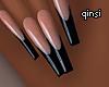 q! black french nails