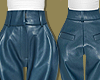 Blue Leather High Pants