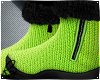 Lime Wool Fur Boots