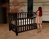 Dark Wood Baby Crib