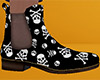 Skull Xbones Ankle Boots