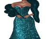 Frina-Teal Gown/Boa
