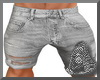 Grey Ripped Jean Short M