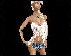 White fringed top+shorts