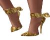 Gold Velour Bow Heels