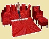 red 10 pose couch set
