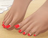 S. Bare Feet Red Pedi