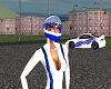 Blue-white race helmet