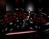 BLACK/RED PVC SWIRL SOFA