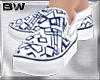 White Blu Grid Slp Shoes