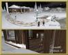 Snowy winter night cabin
