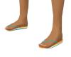 Teal Orange Flip-Flops